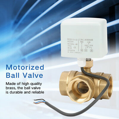 DN32 G1-1/4 Brass 3 Way Motorized Ball Electrical Valve for Air Conditioner 220V