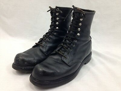 """VTG Red Wing Work Combat Military Boots Mens 10 Black Leather 8"""" Tall USA"""