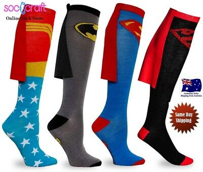 Mens Women Cotton Socks MARVEL Super Hero  Knee High With Cape Stocking