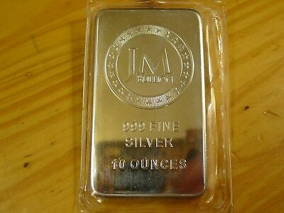 10 Troy Oz Jm Bullion Bar, 10 Troy Ounces Of .999 Fine Silver Total