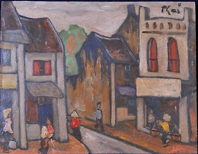 Bui Xuan Phai (1920-1988): Street scene from the old Hanoi, Ölbild