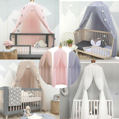 Princess Crown Bed Canopy Bedcover Kids Girls Insect Mosquito Round Lace Net