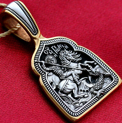 Orthodox Russian Greek Icon Pendant-Saint George Greatmartyr,Silver 925+999 Gold
