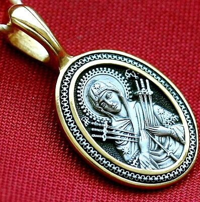 Orthodox Russian Pendant-Mother Of God Semistrelnaja ,Silver 925+999 Gold. Medal