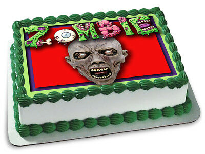 Zombie Cake Topper Edible Icing Image Birthday Party Decoration