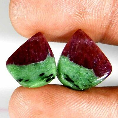 14.25Cts. 100% Natural Pink Green Ruby Zoisite Matched Pair Fancy Cab Gemstone