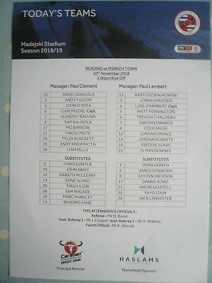 "18/19 - READING v IPSWICH TOWN -(MINT ""FLAT"" OFFICIAL TEAM SHEET) - CHAMPIONSHIP"