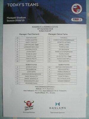 "18/19 - READING v NORWICH - (MINT ""FLAT"" OFFICIAL TEAM SHEET)  - CHAMPIONSHIP"