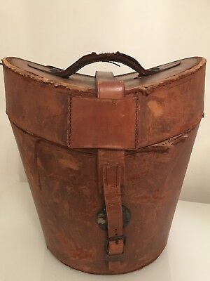 Antique Vintage Leather Top Hat Box RWG Monogram Interior Design Collectible