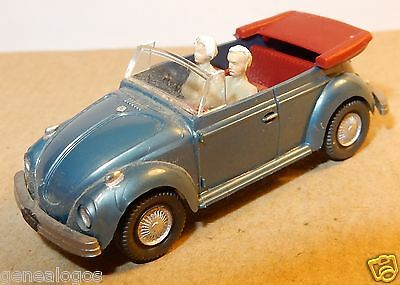 Wiking Ho 1/87 Vw Volkswagen Kafer Beetle Cox 1303 Cabriolet 2Personnages