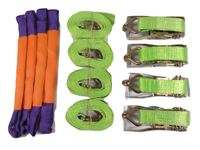x4 50MM 4 Metre Hi Vis Ratchet Recovery Kit with Round Slings - Alloy Wheel 4M