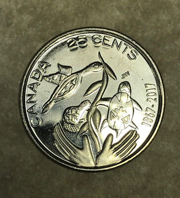 2017 Canada 150th Anniversary 25 Cents No Color Quarter with Turtle and Beaver