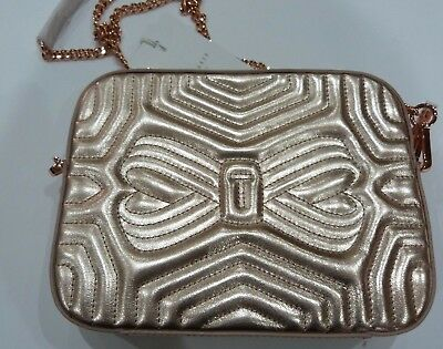 f9db78fa0b0c Ted Baker Rose Gold Quilted Leather Camera Bag RRP £129 Chain Cross Body