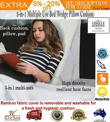 Bamboo Wedge Support Bed Pillow Back Memory Cover Reading Rest Adjustable Sleep