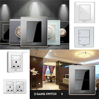 New Modern Brushed Steel Acrylic Click Button Wall Switch Plug Socket With Led