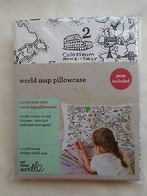 Color Your Own World Map.Doodle Pillowcase Color Your Own Pillow Case Coloring Pillowcase
