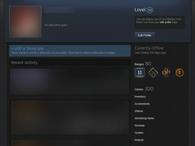 Steam Account: 320 Games, 11 years, $4110 value, Level 52, No bans