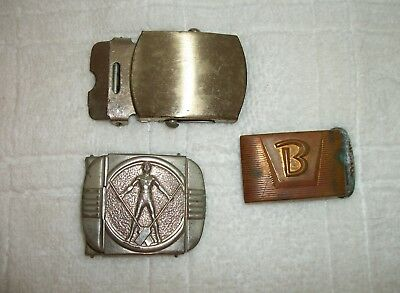 Vintage Belt Buckles LOT OF 3 Brass  USA, Hickok,