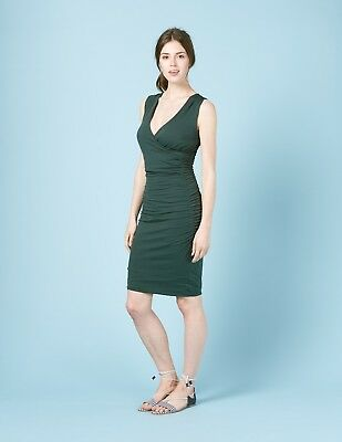 BODEN BNIB Crossover Front Ruched Dress - Beetle Green - UK 18 L