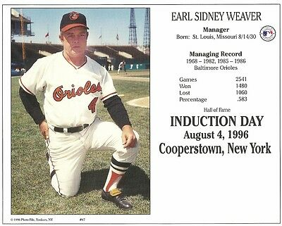 f14eadfef2f EARL WEAVER 8x10 INDUCTION PHOTO Cooperstown Hall of Fame BALTIMORE ORIOLES  1996