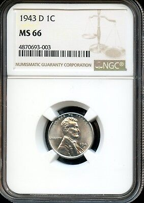 1943 D 1C Ngc Ms 66 (Mint State 66) Steel Lincoln Wheat Cent Ow393