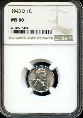1943 D 1C Ngc Ms 66 (Mint State 66) Steel Lincoln Wheat Cent Ow394