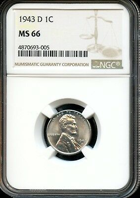 1943 D 1C Ngc Ms 66 (Mint State 66) Steel Lincoln Wheat Cent Ow395