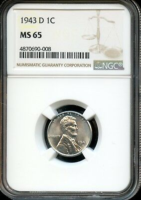 1943 D 1C Ngc Ms 65 (Mint State 65) Steel Lincoln Wheat Cent Ow396