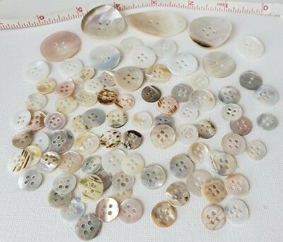 VTG Shell Buttons Lot 88 JAPAN Mother of Pearl MOP Crafts Sewing DIY Curved