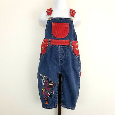 Vintage ACME Baby Toddler Boys 18M Looney Tunes Denim Corduroy Overalls