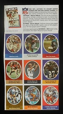 1972 Sunoco and DX Gas NFL Action Full Booklet (9 Stamps) Dallas Cowboys Cover