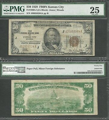 $50 1929 FRBN=KANSAS CITY=BROWN SEAL=Fr 1880-J=FEDERAL RESERVE BANK=PMG VF 25