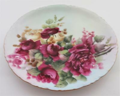 """Rosenthal, Versailles, Bavaria 1891-1906 Red & Yellow Roses, Collector Plate, 8"""""""