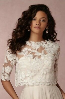 2a7fa4a0b2d NEW BHLDN Tadashi Shoji Ari Topper Wedding Dress Top Ivory Size Small Medium
