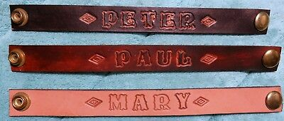 Custom Hand Tooled Real Leather Name Wrist Bands up to 10 Letters Free Shipping