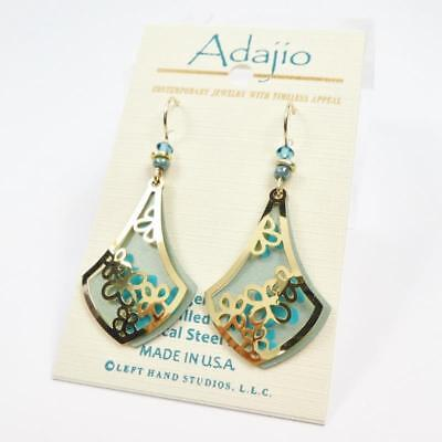 Adajio Earrings Pale Sage Green Teardrop with Shiny Gold Plated Floral Overlay