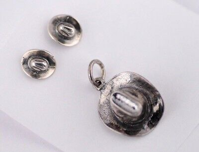Western Cowboy Hat 3D .925 Solid Sterling Silver Charm Pendant MADE IN USA