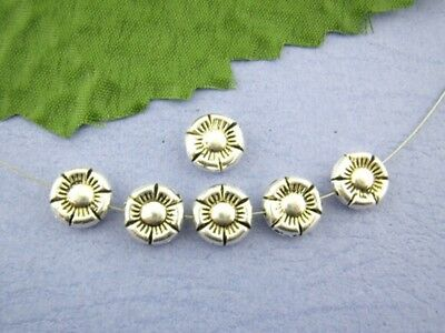 30 Gorgeous Little Solid Metal Flower Beads in Antiqued Silver Tone