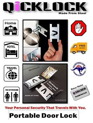 Door Lock  Portable Made of Steel Personal Security.Card Size.No key Required