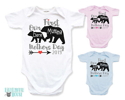 Our First Mothers Day Baby Bear Bodysuit Personalised Mumma Bear Custom Romper