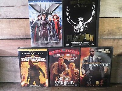 5 DVD Lote X-Men National Treasure Platoon Man On Fire Seis Días Siete Noches