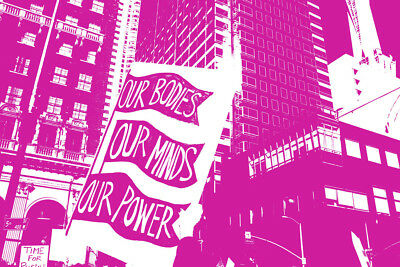 Womens Rights Protest Signs Buildings in Background Art Print Poster 18x12