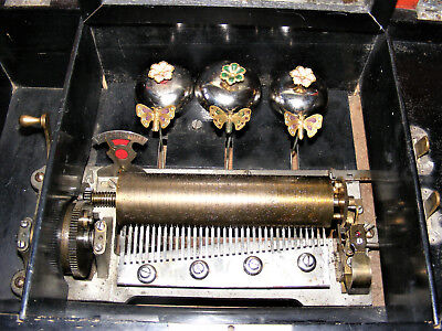 """ANTIQUE 10-AIR CYLINDER MUSIC BOX c1800s WITH 3 BELLS & BUTTERFLYS BY B.H.A"""