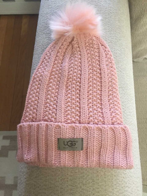 f3726c97b36 UGG WOMENS LIGHT Pink Solid Ribbed Fleece Lined Beanie Hat With Pom ...