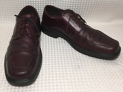 454fe88d6f8 Ecco Leather Dress Shoes Oxfords Helsinki Brown Lace Up Square Toe Comfort  Sz 12