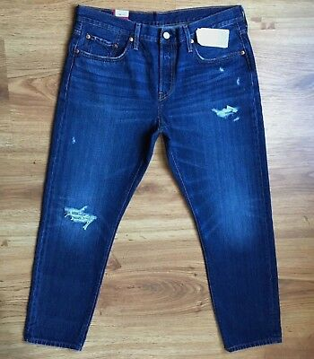 26d06bdc33 NWT Levis 501 Tapered Straight Distressed High Rise Jeans Womens Sz 32 /W34  L28