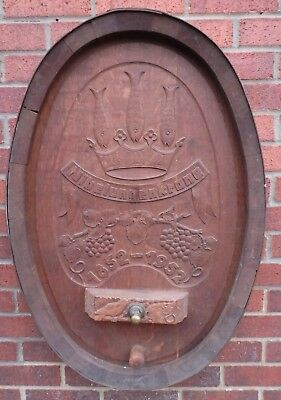 1952 commemorative German armorial carved oak copper pub sign wine barrel end