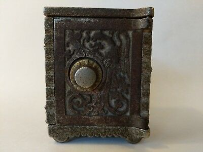 Antique KENTON BRAND STILL BANK GRYPHON 1880s Cast Iron Combination Safe Savings