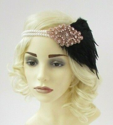 Black Rose Gold Feather Ivory Pearl Headband Headpiece 1920s Great Gatsby 6931