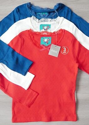 Bnwt Girls Next T-Shirt Tops 5-6 Yrs New Winter Holiday Party Red Blue Christmas